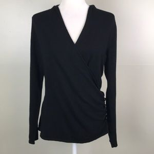 212 COLLECTIONS Black Wrap Side Button Sweater